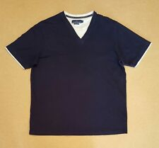 BHS Atlantic Bay Mens Size Midium V-Neck T-Shirt Top in Navy Blue