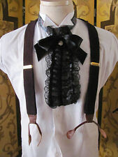 Mens Vintage Unique Suspenders Burgundy Knit & Brass Hardware W. GERMANY
