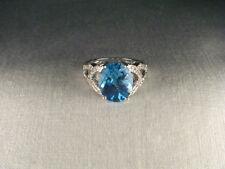 Magnificent Estate 14K White Gold Huge Blue Topaz Diamond Filigree Ring Band