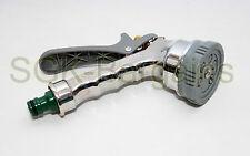 Cromo 6 función de jardín Pistola Pistola Boquilla Aspersor Manguera Triger Agarre Suave