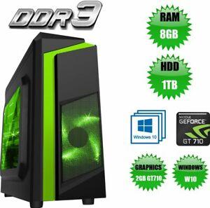 ULTRA FAST Quad Core i5 Gaming PC Tower WIFI & 8GB 1TB HDD & Win 10 + 2GB GT710