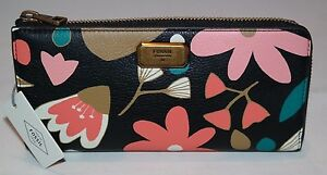 Fossil Emerson L-Zip Wallet Leather Print Dark Floral SL6926992 NWT