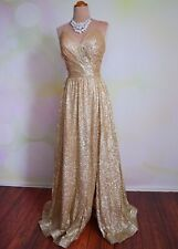 "GOLD CHAMPAGNE EVENING PAGEANT FORMAL BALL GALA DRESS WEDDING GOWN S ""TAYLOR"""