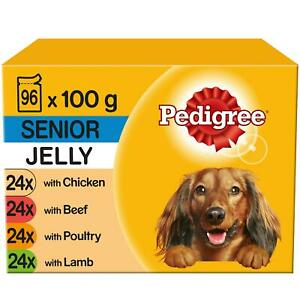 96 x 100g Pedigree Senior Wet Dog Food Pouches Mixed Selection in Jelly