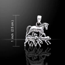Horse with Dogs .925 Sterling Silver Pendant by Peter Stone