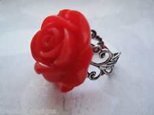 *RED LUCITE ROSE* Filigree ADJUSTABLE RING Antique Silver Plated FLOWER Gift Bag