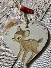 ❤️ Cute Bambi 8cm Wooden Heart Keepsake Tag Home Decor Gift