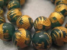 Green Carved Golden Dragon Onyx Round Beads 12mm 4pcs