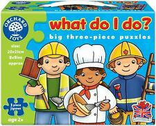 Orchard Toys WHAT DO I DO? Kids/Childrens 3-Piece First Jigsaw Puzzle Set BNIB