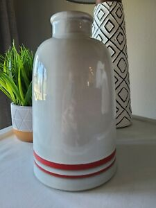 """NWT Hearth and Hand with Magnolia Double RED Stripe Decor Grey Vase 10"""" H x 6"""" W"""