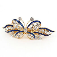 Ladies Bow Glittering Crystal Stone Decor French Hair Clip Clip Brace Blue G7P4