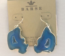 Barse Brand Freeform Drusy Agate Sterling Silver Lined Earrings Blue