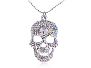 Crystal Rhinestone Skeleton Scary Skull Cute Pendant Necklace Halloween Gift
