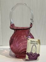 Vintage Fenton Cranberry Glass Posy Vase Basket With Original Label