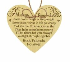 Best Friends Forever Friendship Love Oak Heart Gift Hanging Plaque Home Present