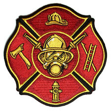 Embroidered Fire Fighter Axe Ladder Hydrant Cap Iron on Sew on Biker Patch Badge