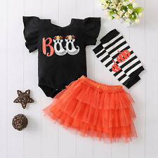 Newborn Infant Baby Girls Romper Tutu Skirts Leg Warmer Halloween Outfits Set