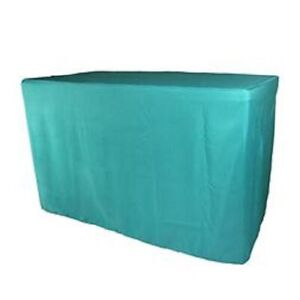 Doolova Fitted 24W TURQUOISE Polyester Table Cover Events Wedding 48 X 24 X 30H