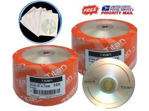 300-Pack Titan 16X Logo DVD-R Blank Disc Media 4.7GB + 300 White Paper Sleeves