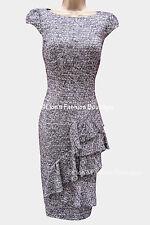 Karen Millen Drape Wool Tweed Work Evening Business Occasion Pencil Dress 16 UK