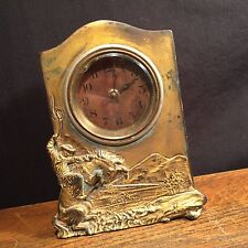 Vintage Clock Lux Cowboy Mantle Rodeo Horse Lasso Lariat Metal PRIORITY MAIL