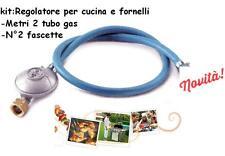 REGOLATORE PER CUCINE E FORNELLI A GAS STUFE BARBECUE +2 MT TUBO +2 FASCETTE