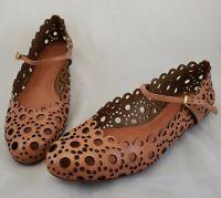 $295 Tory Burch Women's 10 M Chestnut Tan Leather Cut Out Verity Ballet Flats