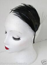 Peacock Black Feather Headband Vintage 1920s Flapper Great Gatsby Headpiece k36