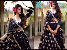 Bollywood Designer Black Embroidered Lehenga Pakistani wedding Wear Choli SMT