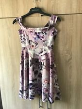Ladies BOOHOO Lilac Purple Floral Skater Bardot Dress Size 10 New With Tags