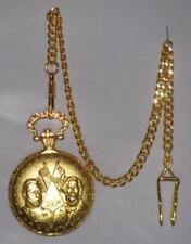 Civil War 150 Year Commemorative Pocket Watch & Chain Gold Tone Brass