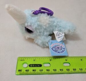 "Applause Narwhal Mini Plush Keychain 3"" Shaggy Lite Blue/White Very Soft! NWT"