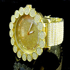 Mens Khronos Real Diamond Joe Rodeo Yellow Canary Cluster Bezel Iced Out Watch