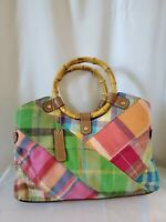 Relic Green Pink Plaid Purse Handbag Patchwork Blue Orange Wood Handles Bag Tote