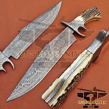 ONE-OF-KIND- RAR- CUSTOM HAND MADE DAMASCUS STEEL  BOWIE KNIFE / STAGE HANDLE
