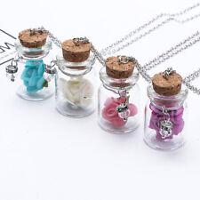 Luminous Glow In The Dark Flower Pendant Glass Wish Bottle Necklace S
