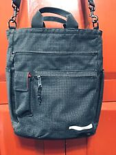 STUSSY black grid heavy duty canvas messenger crossbody large laptop bag tote