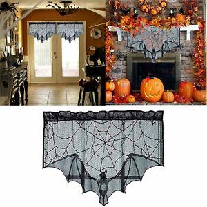 Halloween Party Fireplace Curtain Spider Bat Lace Net Curtain Black Panel Decor