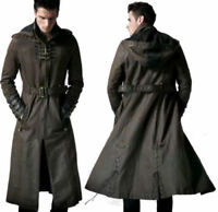 MEN'S HOODED STEAMPUNK GOTHIC MILITARY TRENCH COAT REAL LEATHER