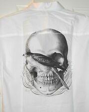 New JACK & JONES Skull Bird Taxidermy Tattoo Graphic Slim Fit White Shirt~L~SALE