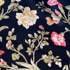 April Cornell vintage round tablecloth BLACK FLORAL