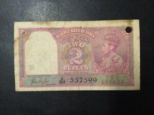 1937 BRITISH INDIA PAPER MONEY - 2 RUPEES BANKNOTE!