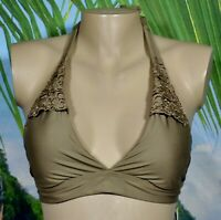 PERRY ELLIS NEW NWT Light Brown Bikini Swim Top Medium Lace Trim Tactel Blend