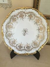"Royal Cauldon King's Plate White 10.5"" Dinner Plate Gold Gilt Bone China EUC!"
