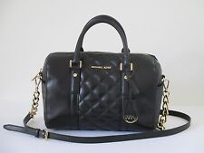 Michael Kors Grayson Black Leather Medium Satchel Shoulder Handbag