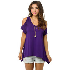 Fashion Summer Womens Off Shoulder Short Sleeve Casual T-Shirt Tops Loose Blouse
