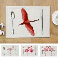 Flamingo Placemat Dinin Table Mats Disc Bowl Waterproof Pads Slip-resistant Pads