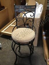 """Frontgate Biella Iron Leather Barstool Counter HEIGHT BAR 30"""" Stool Chair metal"""