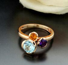 35490~ ADORABILE anello-topazio-citrina-ametista oro giallo-585 neu