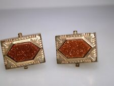Antique Victorian 1860'S Ha & Co. Rose Gold Filled W/Goldstone Cuff Buttons!